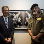 Jim Watson with artist Claude Latour and his work